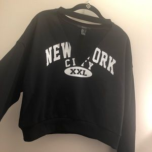 Forever21 V-Neck Crop Varsity Sweatshirt
